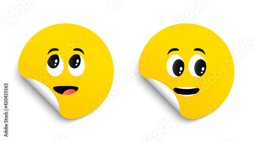 Cartoon face expressions on stickers. Surprised face and interested emotions tags. Cute funny characters. Happy tongue cartoon smile. Vector set of circle adhesive symbol. Paper round sticker. Vector