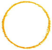 Yellow Circle Drawn With A Pencil.