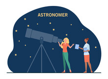 Female Astronomers Watching Stars In Telescope. Sky, Space, Study Flat Vector Illustration. Science And Astronomy Concept For Banner, Website Design Or Landing Web Page