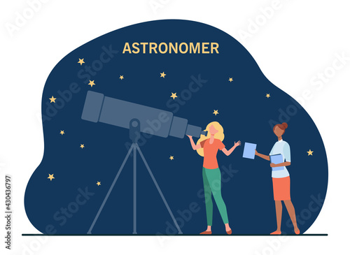 Foto Female astronomers watching stars in telescope