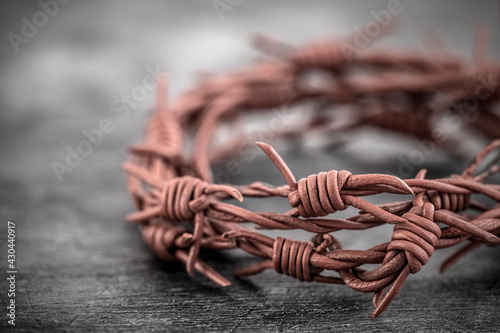 Barbed wire crown of thorns macro shot Fotobehang