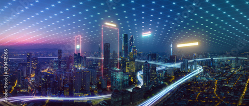 Smart city and abstract polygon pattern connection with speed line light, big data connection technology concept . - fototapety na wymiar