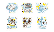 Sea Club Label Original Design With Anchor, Steering Wheel And Lighthouse Vector Set