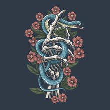 The Snake Is On The Hand Bones Of The Skull Between The Flowers, Editable Layers Vector