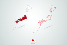 Japan Map With Flag,  Map Vector Illustration.