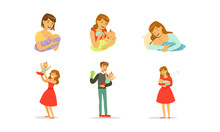 Young Mother And Father Nursing Their Little Baby Bottle And Breast Feeding Vector Set