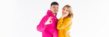 Portrait Of Excited Enthusiastic Couple Promoters Show Thumb Up Recommend Choice Adverts Hug Wear Color Pullover Good Look Isolated Over White Color Background