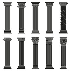 Greek ancient columns. Classic roman and greek architectural stone pillars isolated vector illustration set. Ancient classic outline pillars