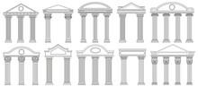 Ancient Pediments. Greek And Roman Architecture Temple Facade With Ancient Pillars Vector Illustration Set. Antique Architectural Pediments Elements