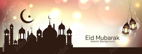 Fotografía Eid Mubarak traditional islamic festival mosque banner