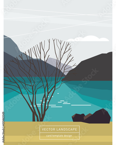 Card template design, stylized landscape in flat minimalist style