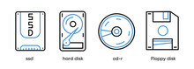 SSD, Hard Disk, Cd-r And Floppy Disk Icon Set. This Symbol Is The Symbol Set For Computer Parts. Colorful Disk Icon. Editable Stroke. Logo, Web And App.