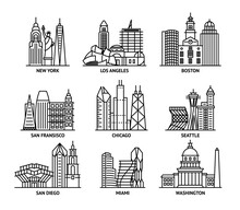 Usa Cities Sign Contour Linear Icon Set. Vector