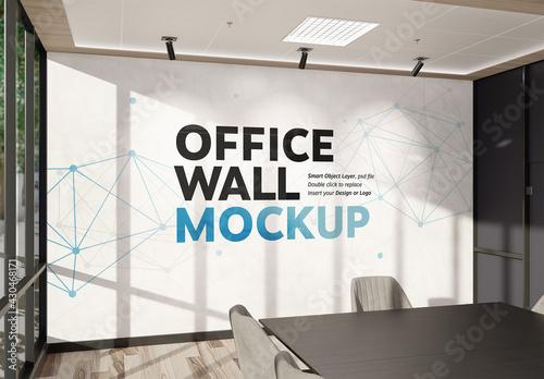 Fototapeta Wall Mockup in Bright Modern Office Interior obraz