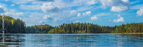 Panoramic view of beautiful forest lake in Russia. - fototapety na wymiar