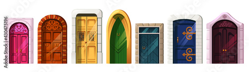 Medieval doors in stone arch for building facade illustration - fototapety na wymiar