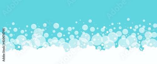 Fotografia, Obraz Soap bubbles and foam vector background, transparent suds pattern