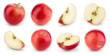 Apple Isolated. Red Apple On White Background. Set Of Whole, Half, Slice Red Apples. Full Depth Of Field.