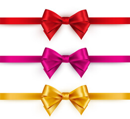 Shiny color satin ribbon on white background