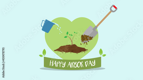 Tablou Canvas Happy Arbor Day, 29th April, planting tree and growth plant campaign for the env