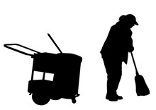 Woman Silhouette Sweeping With Broom