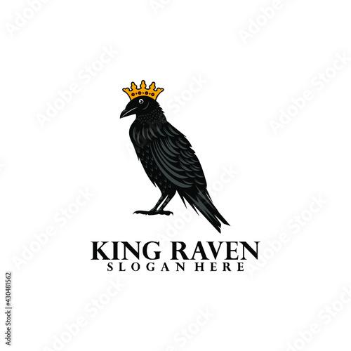 Fototapeta premium king raven black vector logo design