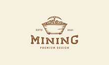 Vintage Minecart Logo Symbol Icon Vector Graphic Design Illustration