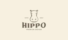Animal Lines Vintage Head Hippo Logo Vector Symbol Icon Design Graphic Illustration