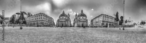 Fototapeta View of the twin churches, Piazza del Popolo, Rome, Italy obraz