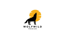 Wolf Howl With Sunset Logo Vector Symbol Icon Design Graphic Illustration