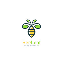 Bee Leaf Logo Symbol Design Template Flat Style Vector