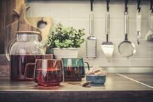 Glass Teapot Full Of Black Tea