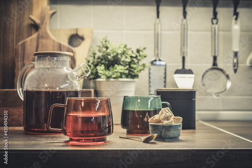 Fototapeta Glass teapot full of black tea obraz