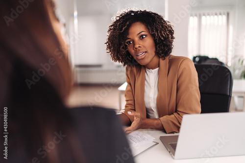 Fototapeta Female colleagues having business meeting