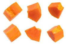 Fresh Ripe Papaya Sliced Isolated On White Background.