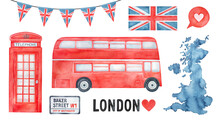 Big Collection Of Great Britain And London City Symbol. Hand Painted Watercolour Drawing, Cutout Elements For Creative Design, Greeting Card, Poster, Banner, Print, Pattern, British Themed Invitation.