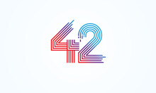 Abstract 42 Number Logo, Number 42 Monogram Line Style, Usable For Anniversary, Business And Tech Logos, Flat Design Logo Template, Vector Illustration