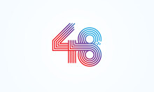 Abstract 48 Number Logo, Number 48 Monogram Line Style, Usable For Anniversary, Business And Tech Logos, Flat Design Logo Template, Vector Illustration