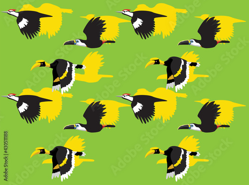 Fototapeta premium Animal Animation Sequence Woodpecker Hornbill Toucan Flying Cartoon Vector Seamless Wallpaper