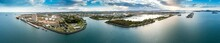 Aerial Panoramic Dusk View Of Gladstone Town And Port In Queensland Australia