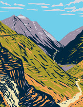 WPA Poster Art Of The Going-to-the-Sun Road Viewed From Logan Pass A Scenic Mountain Road In The Rocky Mountains Located In Glacier National Park In Montana Done In Works Project Administration Style.