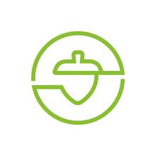 Acorn Nut Or Oak Seed Logo Design, Acorn Line Icon, Linear Style Symbol