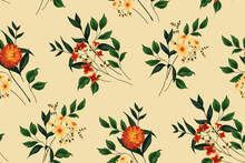 Seamless Floral Pattern. Free Composition Of Various Bouquets With Aster, Other Flowers, Leaves And Plants. Imitation Of Watercolors. Vector.
