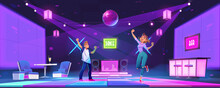 Young People Dance At Night Club Disco Party, Man And Woman Dancing, Moving With Raised Hands. Teenagers Nightlife Activity In Bar With Glowing Floor And Neon Illumination, Cartoon Vector Illustration