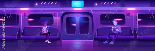 People in night subway train car. Woman with phone and man with book in metro wagon with neon glowing illumination. Underground railway carriage with sitting passengers, Cartoon vector illustration - fototapety na wymiar
