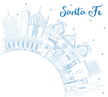 Outline Santa Fe New Mexico City Skyline With Blue Buildings And Copy Space.
