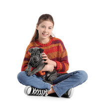 Cute Girl With Puppy On White Background
