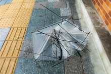 台風で壊れた傘