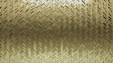Herringbone, 3D Mosaic Tiles Arranged In The Shape Of A Wall. Gold, Polished, Bullion Stacked To Create A Glossy Block Background. 3D Render