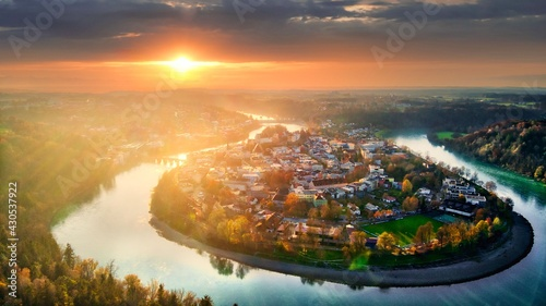 Canvas Print Aerial view at sunset over Wasserburg am Inn, Bavaria, Germany.